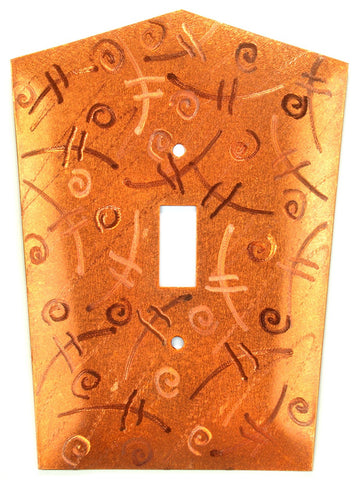Metal Switch Cover. Orange Copper, Fiddle. Sealed. Screws incl.