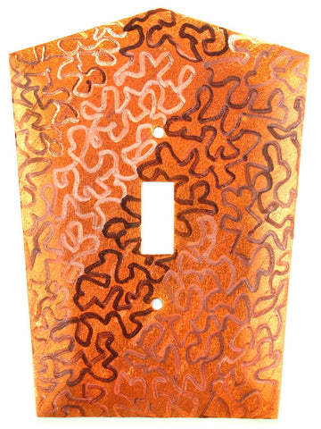 Metal Switch Cover. Orange Copper, Maze. Sealed. Screws incl.