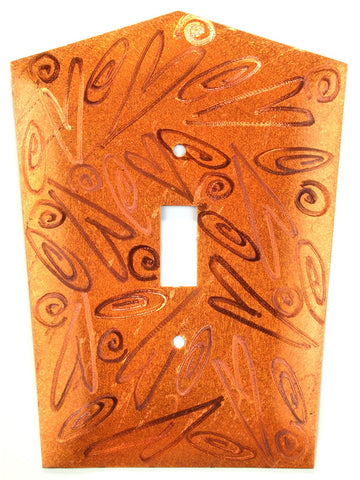 Metal Switch Cover. Orange Copper, Hearts. Sealed. Screws incl.