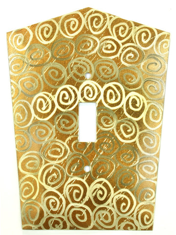 Metal Switch Cover. Brass, Spirals. Sealed. Screws incl.