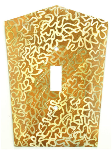 Metal Switch Cover. Brass, Maze. Sealed. Screws incl.