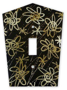 Metal Switch Cover. Dark Brass, Flower Power. Sealed. Screws incl.