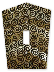 Metal Switch Cover. Dark Brass, Spirals. Sealed. Screws incl.