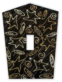 Metal Switch Cover. Dark Brass, Stars. Sealed. Screws incl.