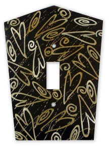 Metal Switch Cover. Dark Brass, Hearts. Sealed. Screws incl.