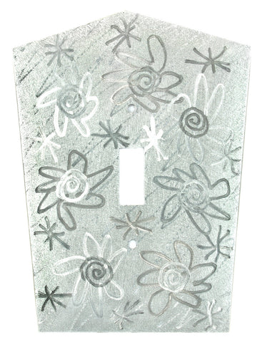 Metal Switch Cover. Silver Aluminum, Flower Power. Sealed. Screws