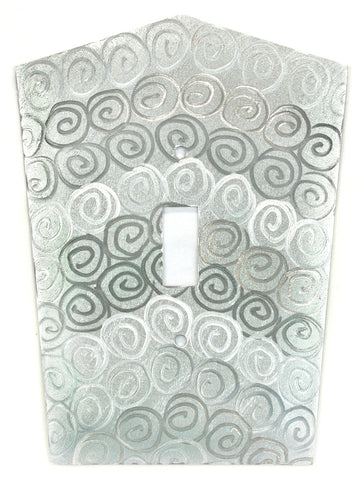 Metal Switch Cover. Silver Aluminum, Spirals. Sealed. Screws incl.