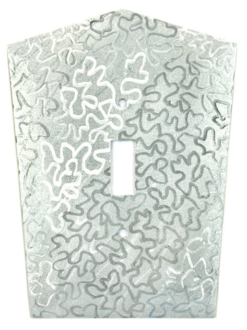 Metal Switch Cover. Silver Aluminum, Maze. Sealed. Screws incl.