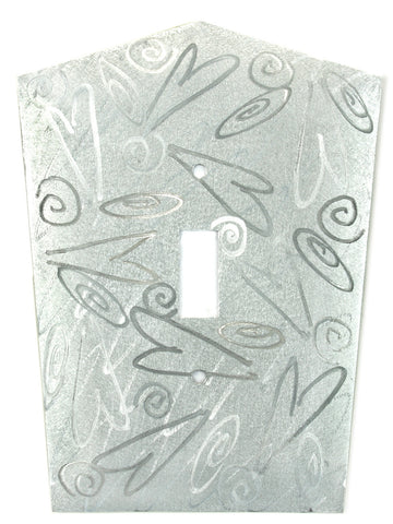 Metal Switch Cover. Silver Aluminum, Hearts. Sealed. Screws incl.