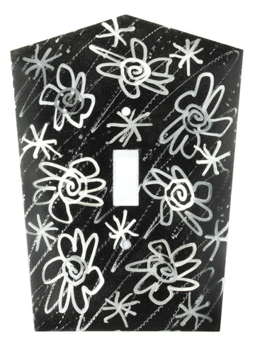 Metal Switch Cover. Black Silver, Flower Power. Sealed. Screws.