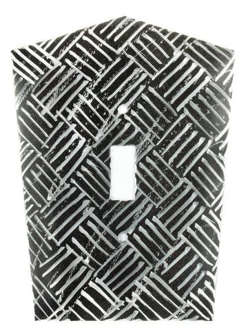 Metal Switch Cover. Black Silver, Parquet. Sealed. Screws.