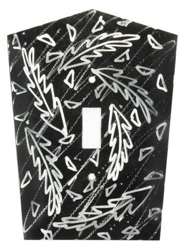 Metal Switch Cover. Black Silver, Frond. Sealed. Screws.