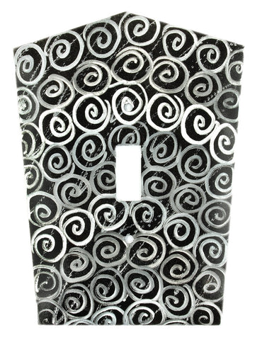 Metal Switch Cover. Black Silver, Spirals. Sealed. Screws.