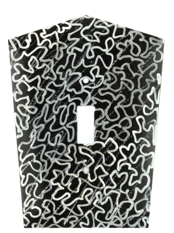 Metal Switch Cover. Black Silver, Maze. Sealed. Screws.