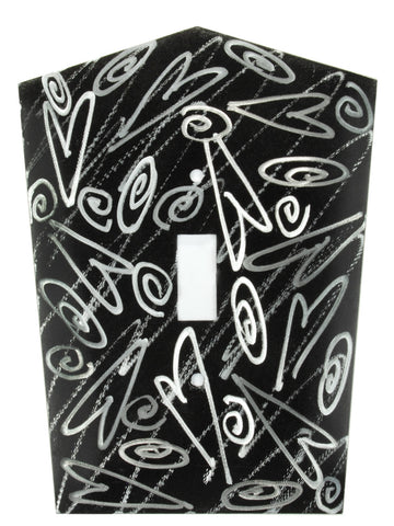 Metal Switch Cover. Black Silver, Hearts. Sealed. Screws.