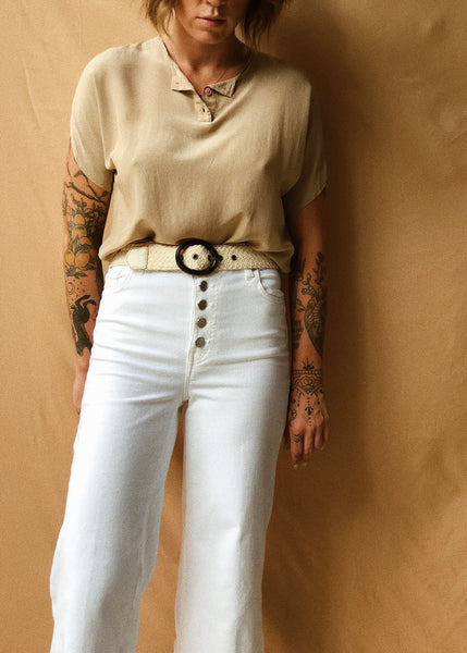Taupe Silk Blouse