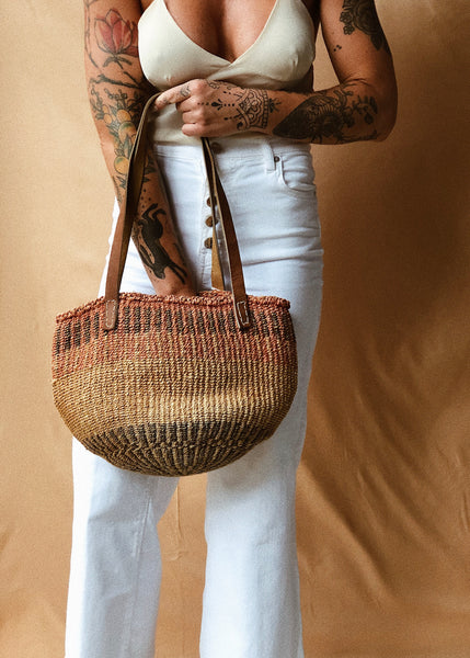 Sisal and Leather Bag