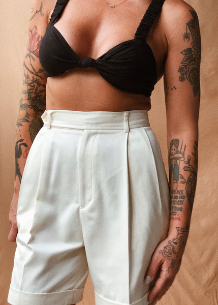 Cream Pleated Shorts