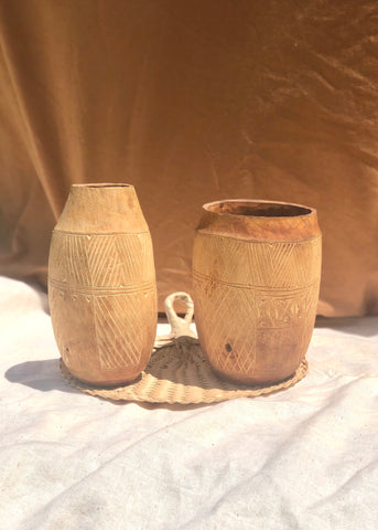Carved Coconut-Wood Vase Set