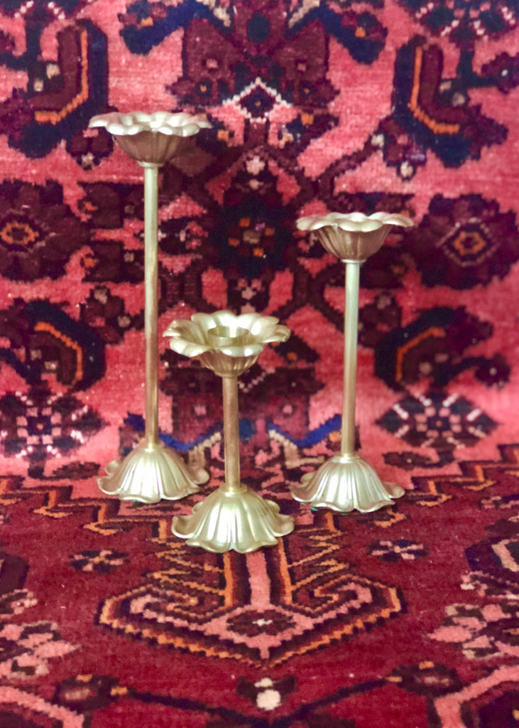 Flowering Brass Candlesticks