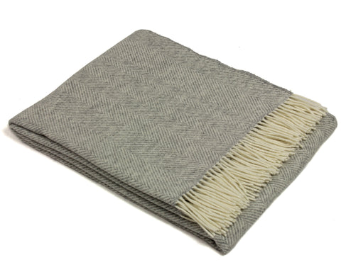 Bronte Merino Wool Throw Blanket - Variegated Herringbone (Gray)