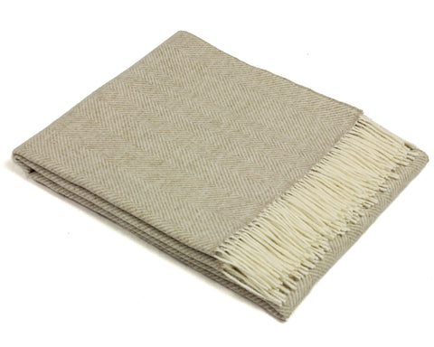 Bronte Merino Wool Throw Blanket - Variegated Herringbone (Beige)