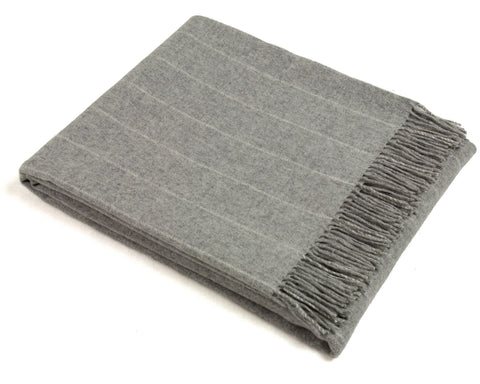 Wool Throw Blanket by Bronte - Merino Lambswool - Pinstripe (Gray)