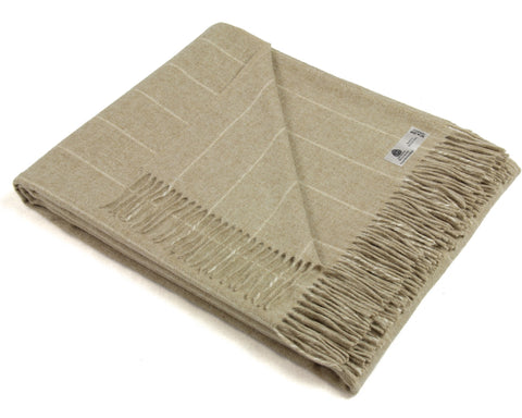 Wool Throw Blanket by Bronte - Merino Lambswool - Pinstripe (Beige)