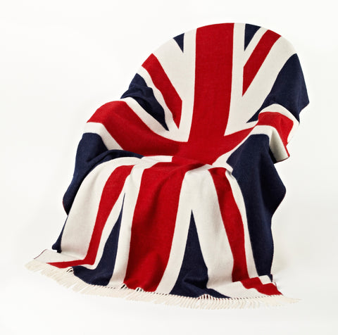 Union Jack throw blanket made with 100% merino wool