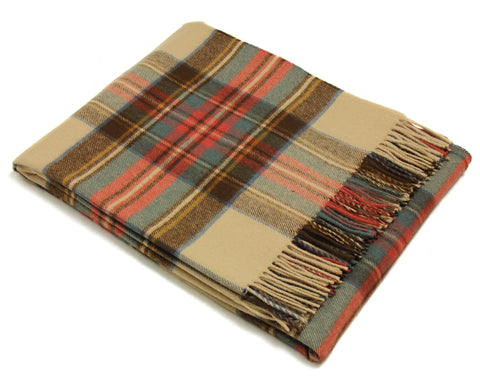 Bronte Tartan Throw Blanket - Merino Wool (Antique Dress Stewart)