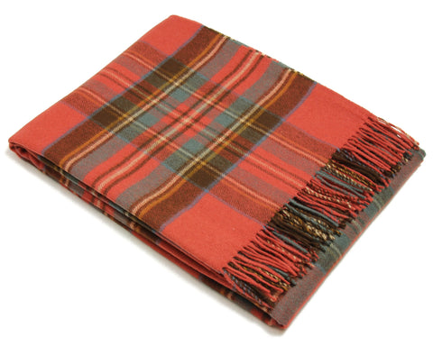 Bronte Tartan Throw Blanket - Merino Wool (Antique Royal Stewart)