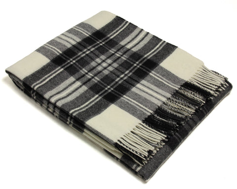 Bronte Tartan Throw Blanket - Merino Wool (Dress Gray Stewart)