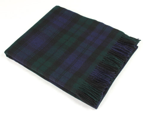 Bronte Tartan Throw Blanket - Merino Wool (Black Watch)