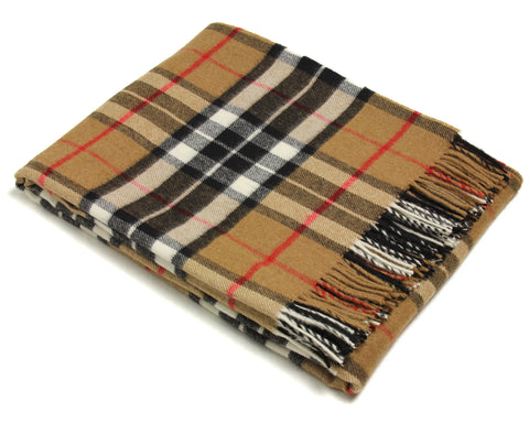 Bronte Tartan Throw Blanket - Merino Wool (Camel Thompson)