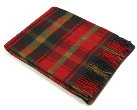 Bronte Tartan Throw Blanket - Merino Wool (Dark Maple)