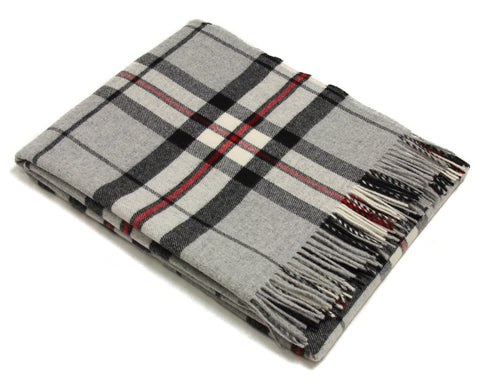 Bronte Tartan Throw Blanket - Merino Wool (Gray Thompson)