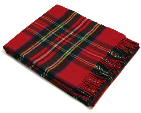 Bronte Throw Blanket - Tartan Throw - Merino Lambswool (Royal Stewart)