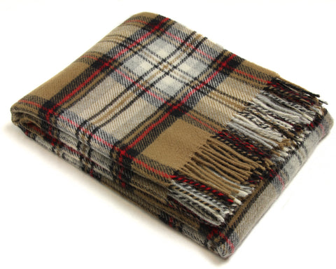 Bronte Tartan Throw Blanket - Pure New Wool (Camel Stewart)
