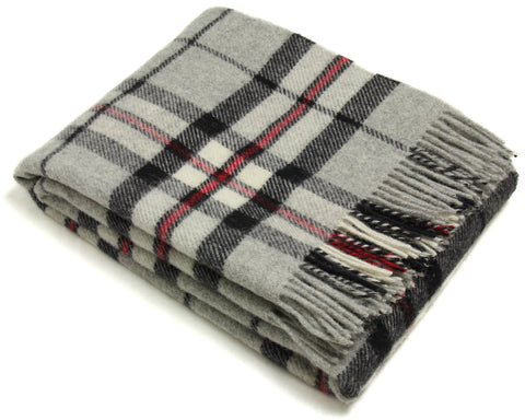 Bronte Throw Blanket - Tartan Throw - Pure New Wool (Gray Thompson)