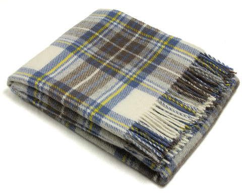 Bronte Tartan Throw Blanket - Pure New Wool (Muted Blue Stewart)