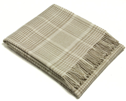 Bronte Merino Wool Throw Blanket - Prince of Wales Check (Beige)
