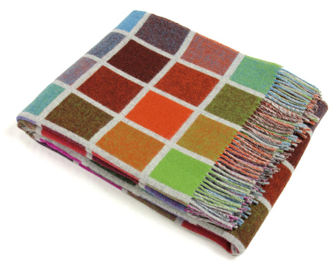 Wool Throw Blanket by Bronte - Merino Wool - Multiblock (Gray/Multi)