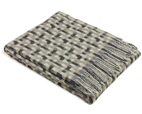 Merino Wool Throw Blanket by Bronte - Geometric (Natural)