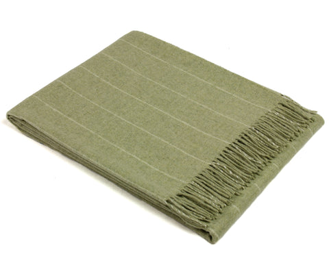 Merino Wool Throw Blanket by Bronte - Pinstripe (Sage Green)