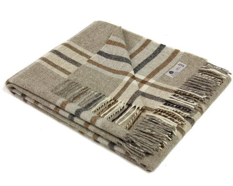 Bronte Wool Throw Blanket - Arncliffe (Beige / Cream / Gray / Brown)