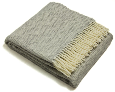 Tweedmill Throw Blanket - Pure New Wool - Lifestyle Beehive (Gray)