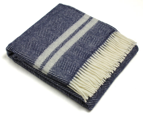 Tweedmill Wool Throw Blanket - Fishbone Two Stripe Navy & Silver Gray