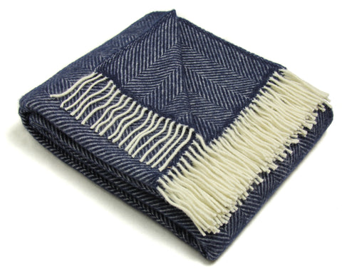 Tweedmill Wool Throw Blanket - Fishbone (Navy)