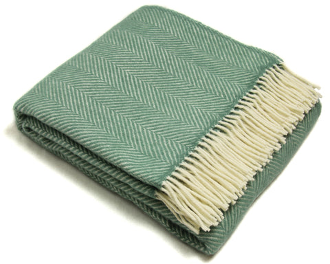 Tweedmill Wool Throw Blanket - Fishbone (Sea Green)