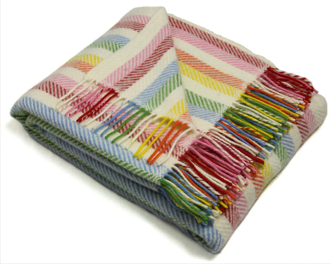 Tweedmill Throw Blanket - Pure New Wool - Rainbow Stripe